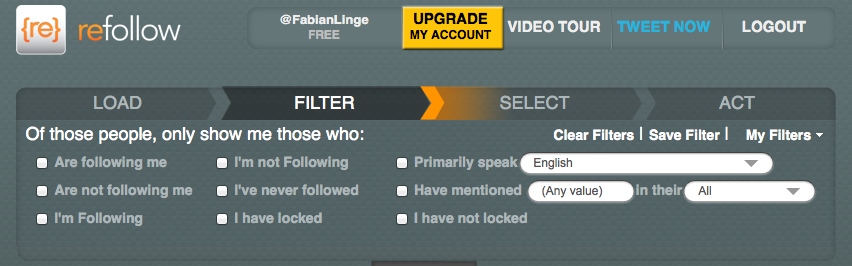 Filtering Twitter users by using Refollow